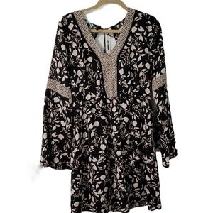 Maurices Floral Open Tie Back Bell Sleeve Dress M
